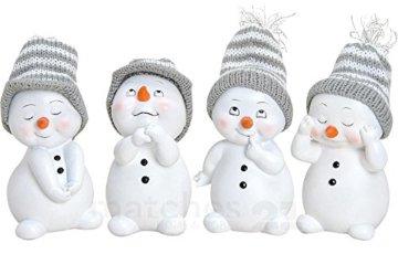 matches21 Süße Schneemann Deko Figuren mit Strickmützen Weihnachtsdeko 4er Set aus Kunststoff je ca. 6x6x11 cm Winterdeko - 1