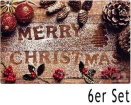matches21 Tischsets Weihnachten Platzsets MOTIV Merry Christmas & Weihnachtsdeko auf Holzbrett 6 Stk. Kunststoff abwaschbar je 43,5x28,5 cm - 1