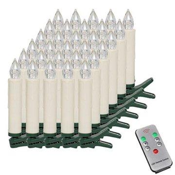 MCTECH 30er Warmweiß Weinachten LED Kerzen Kabellose Weihnachtsbeleuchtung Flammenlose Lichterkette Kerzen Weihnachtskerzen für Weihnachtsbaum, Weihnachtsdeko, Hochzeitsdeko, Party, Feiertag - 1