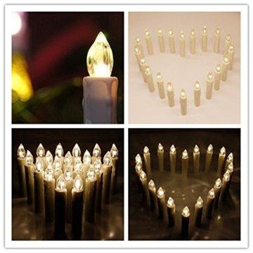 MCTECH 30er Warmweiß Weinachten LED Kerzen Kabellose Weihnachtsbeleuchtung Flammenlose Lichterkette Kerzen Weihnachtskerzen für Weihnachtsbaum, Weihnachtsdeko, Hochzeitsdeko, Party, Feiertag - 5