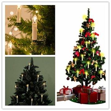 MCTECH 30er Warmweiß Weinachten LED Kerzen Kabellose Weihnachtsbeleuchtung Flammenlose Lichterkette Kerzen Weihnachtskerzen für Weihnachtsbaum, Weihnachtsdeko, Hochzeitsdeko, Party, Feiertag - 6