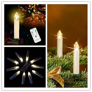 MCTECH 30er Warmweiß Weinachten LED Kerzen Kabellose Weihnachtsbeleuchtung Flammenlose Lichterkette Kerzen Weihnachtskerzen für Weihnachtsbaum, Weihnachtsdeko, Hochzeitsdeko, Party, Feiertag - 8