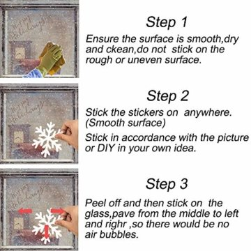 MEIXI 135 Schneeflocken Fensterbilder Weihnachtsdeko Winterdeko Deko Fenster Statisch Haftende PVC Aufklebe für Weihnachts Fenster Dekoration, Schaufenster, Vitrinen, Glasfronten(5 Blatt) - 4