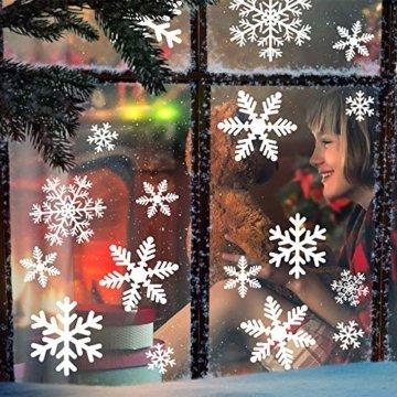 MEIXI 135 Schneeflocken Fensterbilder Weihnachtsdeko Winterdeko Deko Fenster Statisch Haftende PVC Aufklebe für Weihnachts Fenster Dekoration, Schaufenster, Vitrinen, Glasfronten(5 Blatt) - 1