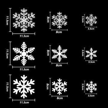 MEIXI 135 Schneeflocken Fensterbilder Weihnachtsdeko Winterdeko Deko Fenster Statisch Haftende PVC Aufklebe für Weihnachts Fenster Dekoration, Schaufenster, Vitrinen, Glasfronten(5 Blatt) - 5