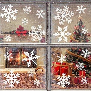 MEIXI 135 Schneeflocken Fensterbilder Weihnachtsdeko Winterdeko Deko Fenster Statisch Haftende PVC Aufklebe für Weihnachts Fenster Dekoration, Schaufenster, Vitrinen, Glasfronten(5 Blatt) - 6