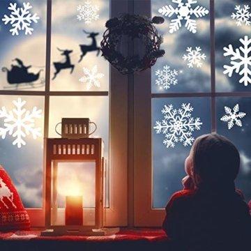 MEIXI 135 Schneeflocken Fensterbilder Weihnachtsdeko Winterdeko Deko Fenster Statisch Haftende PVC Aufklebe für Weihnachts Fenster Dekoration, Schaufenster, Vitrinen, Glasfronten(5 Blatt) - 7