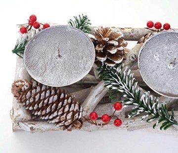Mendler Adventskranz länglich, Weihnachtsdeko Adventsgesteck, Holz 11x15x50cm weiß-grau ~ mit Kerzen, weiß - 3