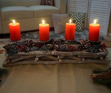 Mendler Adventskranz länglich, Weihnachtsdeko Adventsgesteck, Holz 11x15x50cm weiß-grau ~ mit Kerzen, weiß - 4