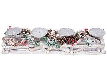 Mendler Adventskranz länglich, Weihnachtsdeko Adventsgesteck, Holz 11x15x50cm weiß-grau ~ mit Kerzen, weiß - 5