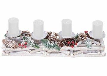 Mendler Adventskranz länglich, Weihnachtsdeko Adventsgesteck, Holz 11x15x50cm weiß-grau ~ mit Kerzen, weiß - 6