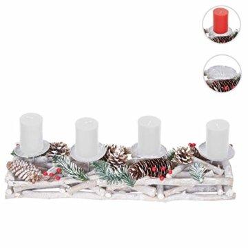 Mendler Adventskranz länglich, Weihnachtsdeko Adventsgesteck, Holz 11x15x50cm weiß-grau ~ mit Kerzen, weiß - 8
