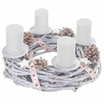 Mendler Adventskranz rund, Weihnachtsdeko Tischkranz, Holz Ø 30cm weiß-grau ~ mit Kerzen, weiß - 3