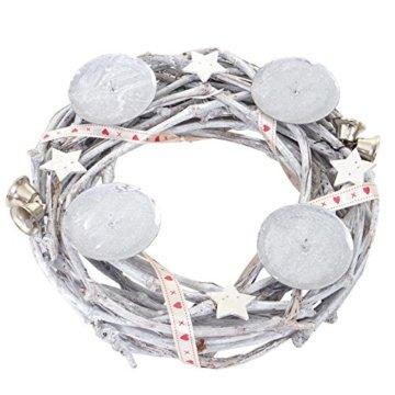 Mendler Adventskranz rund, Weihnachtsdeko Tischkranz, Holz Ø 30cm weiß-grau ~ mit Kerzen, weiß - 4