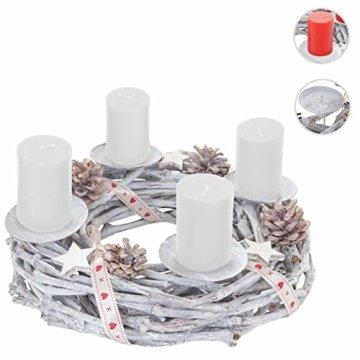 Mendler Adventskranz rund, Weihnachtsdeko Tischkranz, Holz Ø 30cm weiß-grau ~ mit Kerzen, weiß - 7