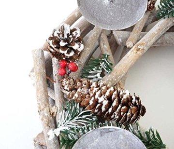 Mendler Adventskranz rund, Weihnachtsdeko Tischkranz, Holz Ø 35cm weiß-grau ~ mit Kerzen, rot - 2