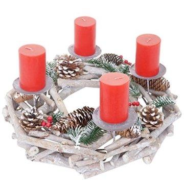 Mendler Adventskranz rund, Weihnachtsdeko Tischkranz, Holz Ø 35cm weiß-grau ~ mit Kerzen, rot - 3