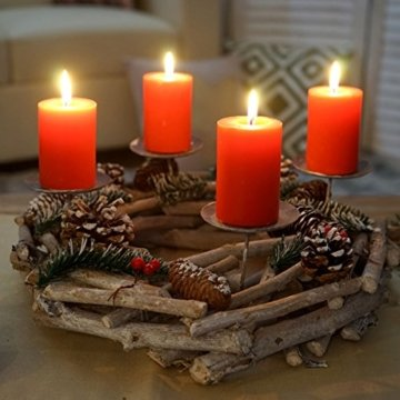 Mendler Adventskranz rund, Weihnachtsdeko Tischkranz, Holz Ø 35cm weiß-grau ~ mit Kerzen, rot - 4