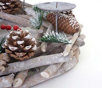Mendler Adventskranz rund, Weihnachtsdeko Tischkranz, Holz Ø 35cm weiß-grau ~ mit Kerzen, rot - 5