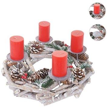 Mendler Adventskranz rund, Weihnachtsdeko Tischkranz, Holz Ø 35cm weiß-grau ~ mit Kerzen, rot - 6