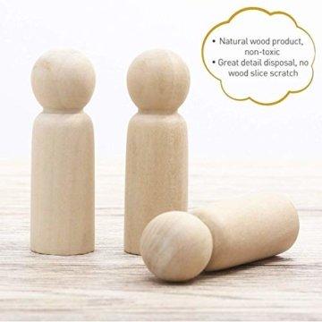 Mengger Figurenkegel holz Familie Figuren Holzfiguren Spielfiguren Zum Bemalen Basteln Puppen Spielfiguren Mann Frau Junge Mädchen Kinder 30 Stück - 3