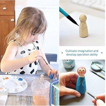Mengger Figurenkegel holz Familie Figuren Holzfiguren Spielfiguren Zum Bemalen Basteln Puppen Spielfiguren Mann Frau Junge Mädchen Kinder 30 Stück - 4
