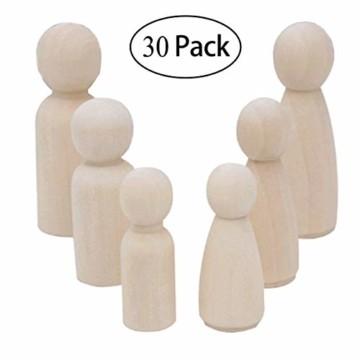 Mengger Figurenkegel holz Familie Figuren Holzfiguren Spielfiguren Zum Bemalen Basteln Puppen Spielfiguren Mann Frau Junge Mädchen Kinder 30 Stück - 1