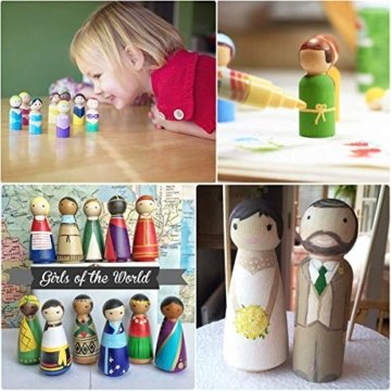 Mengger Figurenkegel holz Familie Figuren Holzfiguren Spielfiguren Zum Bemalen Basteln Puppen Spielfiguren Mann Frau Junge Mädchen Kinder 30 Stück - 6