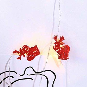 Meter Licht Batterie Lichterkette Warmweißes Eisenhirsch 2M Lichterketten 10 Led Outdoor Indoor Weihnachtsbaum Weihnachten Eisregen, Warm-Weiss/Kalt-Weiss, Innen AußEn Adapter - 2