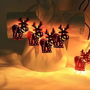 Meter Licht Batterie Lichterkette Warmweißes Eisenhirsch 2M Lichterketten 10 Led Outdoor Indoor Weihnachtsbaum Weihnachten Eisregen, Warm-Weiss/Kalt-Weiss, Innen AußEn Adapter - 1