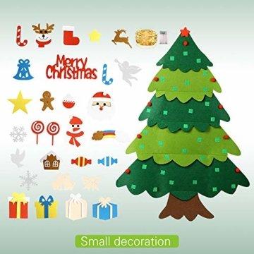 Mgrett Filz Weihnachtsbaum, 32 Stück DIY Filz Weihnachtsbaum, Weihnachtsdekoration Hängendes LED-Lichterkette für Kinder Weihnachten Geschenk,Wandbehang Deko Dekoration - 2