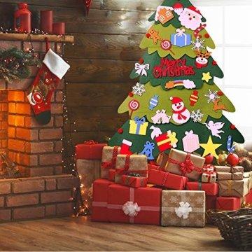 Mgrett Filz Weihnachtsbaum, 32 Stück DIY Filz Weihnachtsbaum, Weihnachtsdekoration Hängendes LED-Lichterkette für Kinder Weihnachten Geschenk,Wandbehang Deko Dekoration - 3