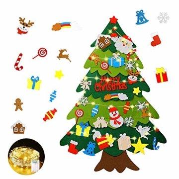Mgrett Filz Weihnachtsbaum, 32 Stück DIY Filz Weihnachtsbaum, Weihnachtsdekoration Hängendes LED-Lichterkette für Kinder Weihnachten Geschenk,Wandbehang Deko Dekoration - 1