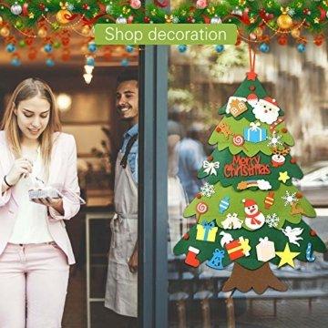 Mgrett Filz Weihnachtsbaum, 32 Stück DIY Filz Weihnachtsbaum, Weihnachtsdekoration Hängendes LED-Lichterkette für Kinder Weihnachten Geschenk,Wandbehang Deko Dekoration - 6