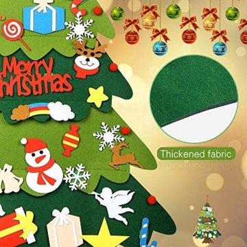 Mgrett Filz Weihnachtsbaum, 32 Stück DIY Filz Weihnachtsbaum, Weihnachtsdekoration Hängendes LED-Lichterkette für Kinder Weihnachten Geschenk,Wandbehang Deko Dekoration - 7