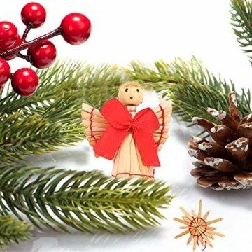 Miamasvin 40-Strohsterne Anhänger Set, Natürlicher Weihnachtsbaumschmuck aus Stroh, Strohsterne Baumschmuck Weihnachtsdekoration Material - 2