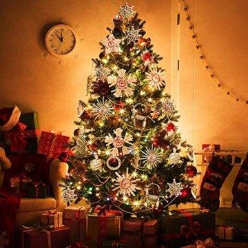 Miamasvin 40-Strohsterne Anhänger Set, Natürlicher Weihnachtsbaumschmuck aus Stroh, Strohsterne Baumschmuck Weihnachtsdekoration Material - 3