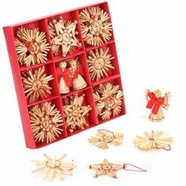 Miamasvin 40-Strohsterne Anhänger Set, Natürlicher Weihnachtsbaumschmuck aus Stroh, Strohsterne Baumschmuck Weihnachtsdekoration Material - 1