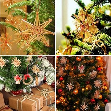 Miamasvin 40-Strohsterne Anhänger Set, Natürlicher Weihnachtsbaumschmuck aus Stroh, Strohsterne Baumschmuck Weihnachtsdekoration Material - 4