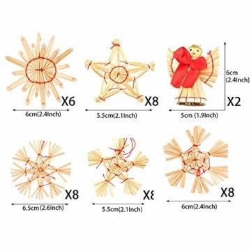 Miamasvin 40-Strohsterne Anhänger Set, Natürlicher Weihnachtsbaumschmuck aus Stroh, Strohsterne Baumschmuck Weihnachtsdekoration Material - 5