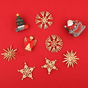 Miamasvin 40-Strohsterne Anhänger Set, Natürlicher Weihnachtsbaumschmuck aus Stroh, Strohsterne Baumschmuck Weihnachtsdekoration Material - 6