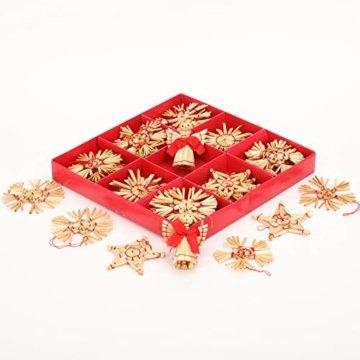 Miamasvin 40-Strohsterne Anhänger Set, Natürlicher Weihnachtsbaumschmuck aus Stroh, Strohsterne Baumschmuck Weihnachtsdekoration Material - 7