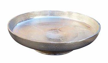 MichaelNoll Dekoteller Schale Servierplatte Aluminium Silber Moderne Dekoschale aus Metall - XXL 40 cm - 2