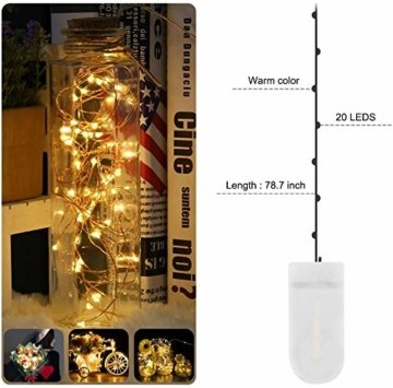 Micro LED Lichterkette mit Batterie Betrieb Auf 24 Stück 2 Meter 20er IP65 Wasserdicht Drahtlichterkette für Party, Garten, Weihnachten, Halloween, Hochzeit, Beleuchtung Deko - 3