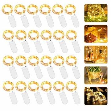 Micro LED Lichterkette mit Batterie Betrieb Auf 24 Stück 2 Meter 20er IP65 Wasserdicht Drahtlichterkette für Party, Garten, Weihnachten, Halloween, Hochzeit, Beleuchtung Deko - 1