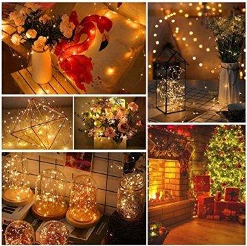 Micro LED Lichterkette mit Batterie Betrieb Auf 24 Stück 2 Meter 20er IP65 Wasserdicht Drahtlichterkette für Party, Garten, Weihnachten, Halloween, Hochzeit, Beleuchtung Deko - 5