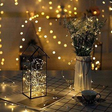 Micro LED Lichterkette mit Batterie Betrieb Auf 24 Stück 2 Meter 20er IP65 Wasserdicht Drahtlichterkette für Party, Garten, Weihnachten, Halloween, Hochzeit, Beleuchtung Deko - 6