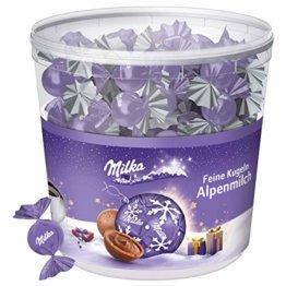 Milka Feine Kugeln Alpenmilch 1 x 900g, 100 einzeln verpackte Schokoladenkugeln mit Alpenmilch Füllung - 1