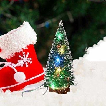 Mini Künstliche Weihnachtsbaum,Colorful Desktop Kleiner Weihnachtsbaum Christbaum Grün Tannenbaum unechter Tannenbaum Künstliche Tanne Schneetannen Deko Weihnachtsdeko (15cm) - 4