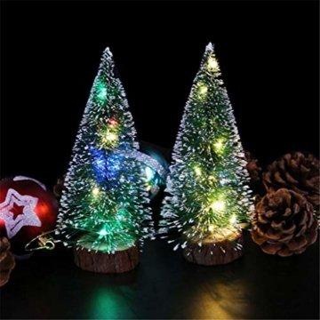 Mini Künstliche Weihnachtsbaum,Colorful Desktop Kleiner Weihnachtsbaum Christbaum Grün Tannenbaum unechter Tannenbaum Künstliche Tanne Schneetannen Deko Weihnachtsdeko (15cm) - 5